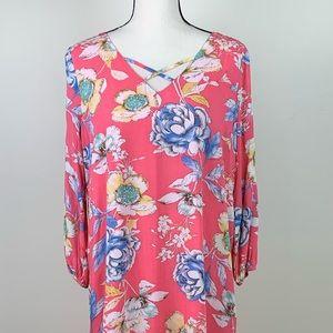UMGEE NWT pink floral open sleeve sz Medium dress